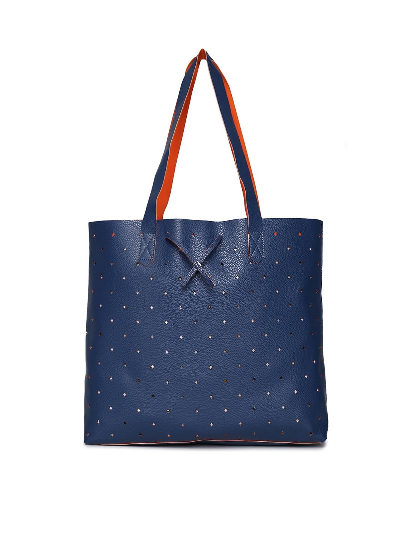 People Blue Textured Tote Bag People Handbags