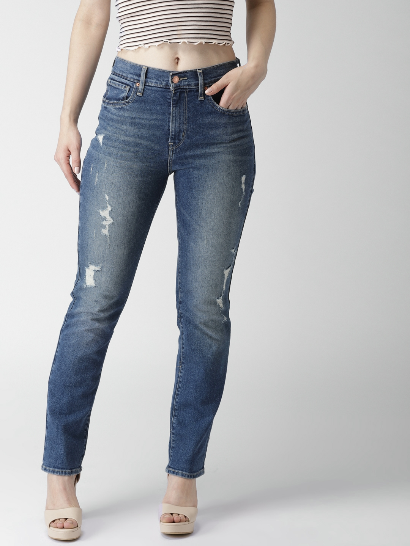 c489a6a7de Levis Women Blue Straight Fit High-Rise Mildly Distressed Stretchable Jeans  67667-0001. Best Price: ...