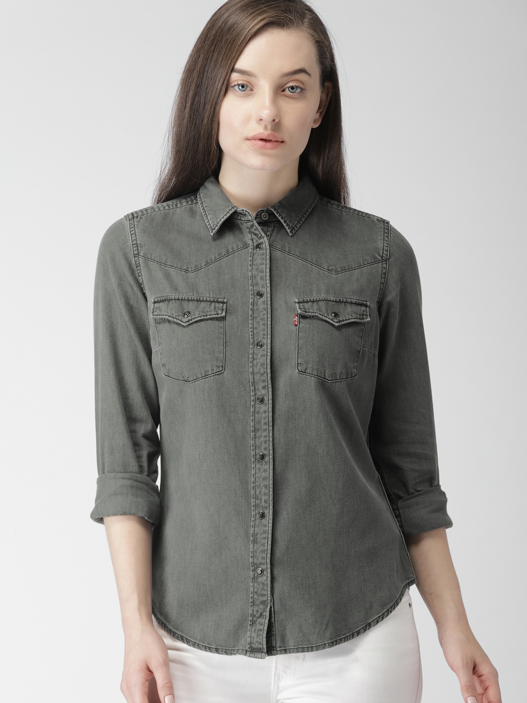 c7337229 Buy Levis Women Black Regular Fit Faded Casual Shirt - Shirts for ...
