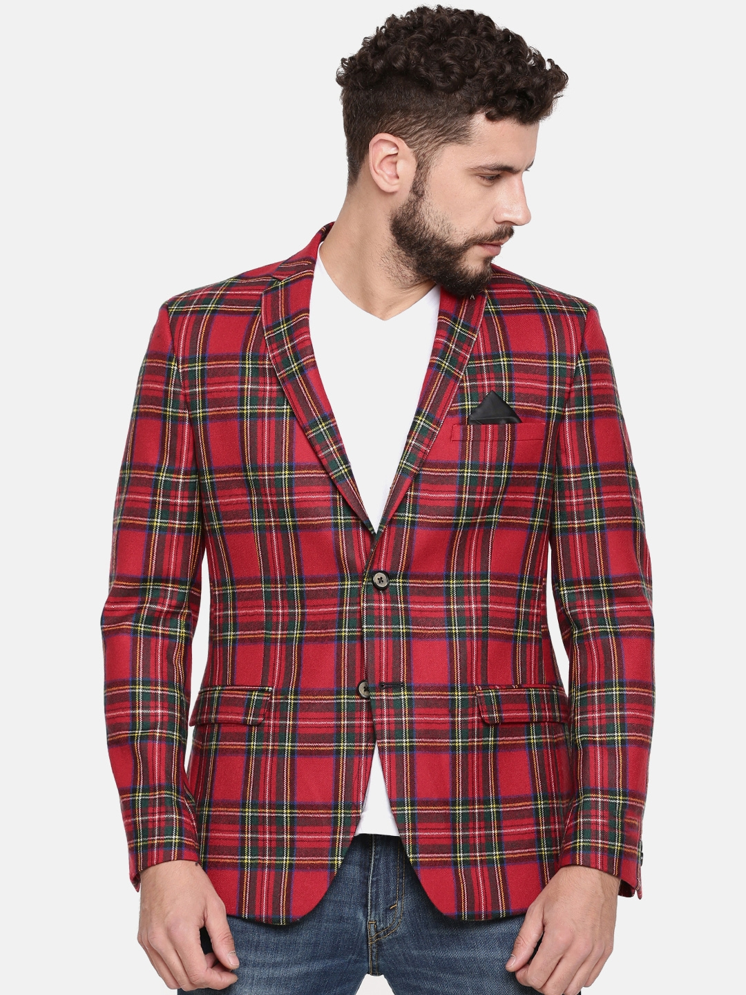 85523ade73649 Buy Theme Red Checked Single Breasted Tailored Fit Casual Blazer ...