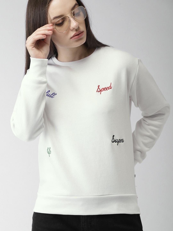 Harvard Women White Self Design Sweatshirt Harvard Sweatshirts