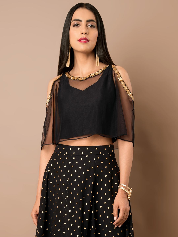3fd5cb0b419ee4 Buy INDYA Women Black Layered Top - Tops for Women 6805403