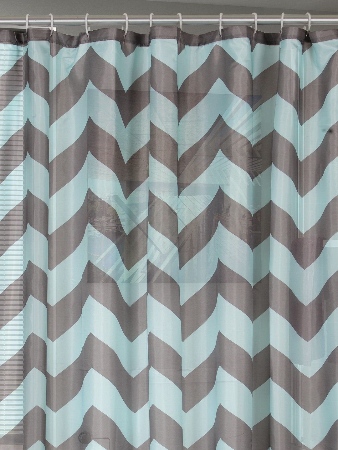 Buy BOMBAY DYEING Sea Green Grey Printed Shower Curtain