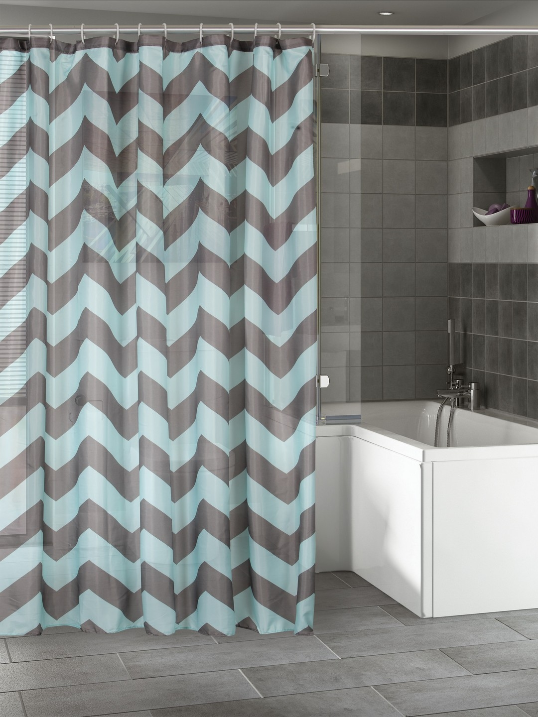 BOMBAY DYEING Sea Green Grey Printed Shower Curtain