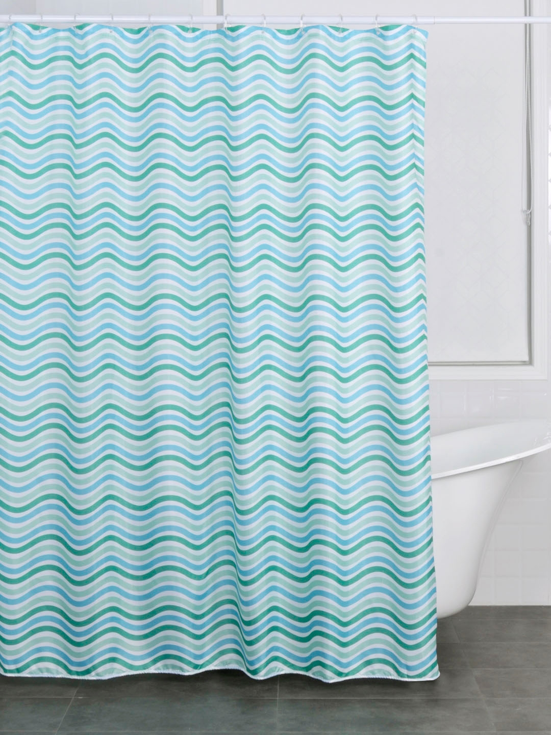Buy OBSESSIONS Blue Green Printed Shower Curtain