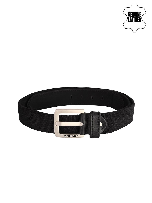 SCHARF Men Black Twister Canvas Series Genuine Leather Belt