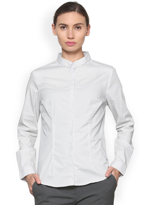 Van Heusen Woman Women Grey Printed Formal Shirt Van Heusen Woman Shirts