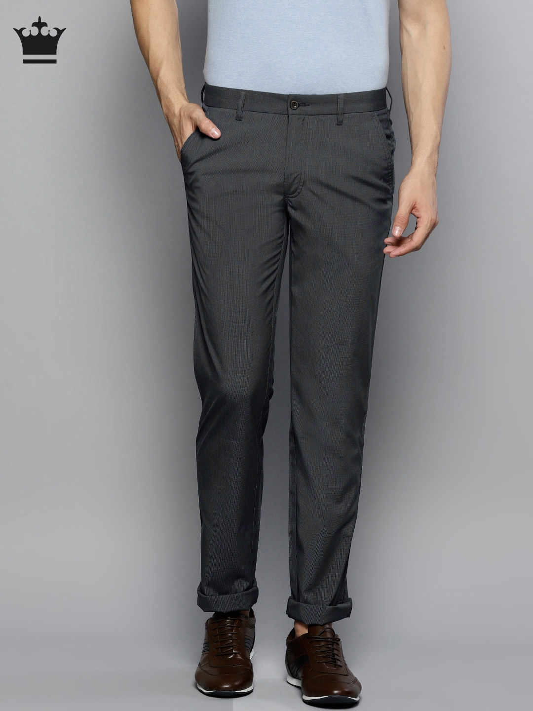 Louis Philippe Men Navy Blue Slim Fit Self Design Smart Casual Trousers