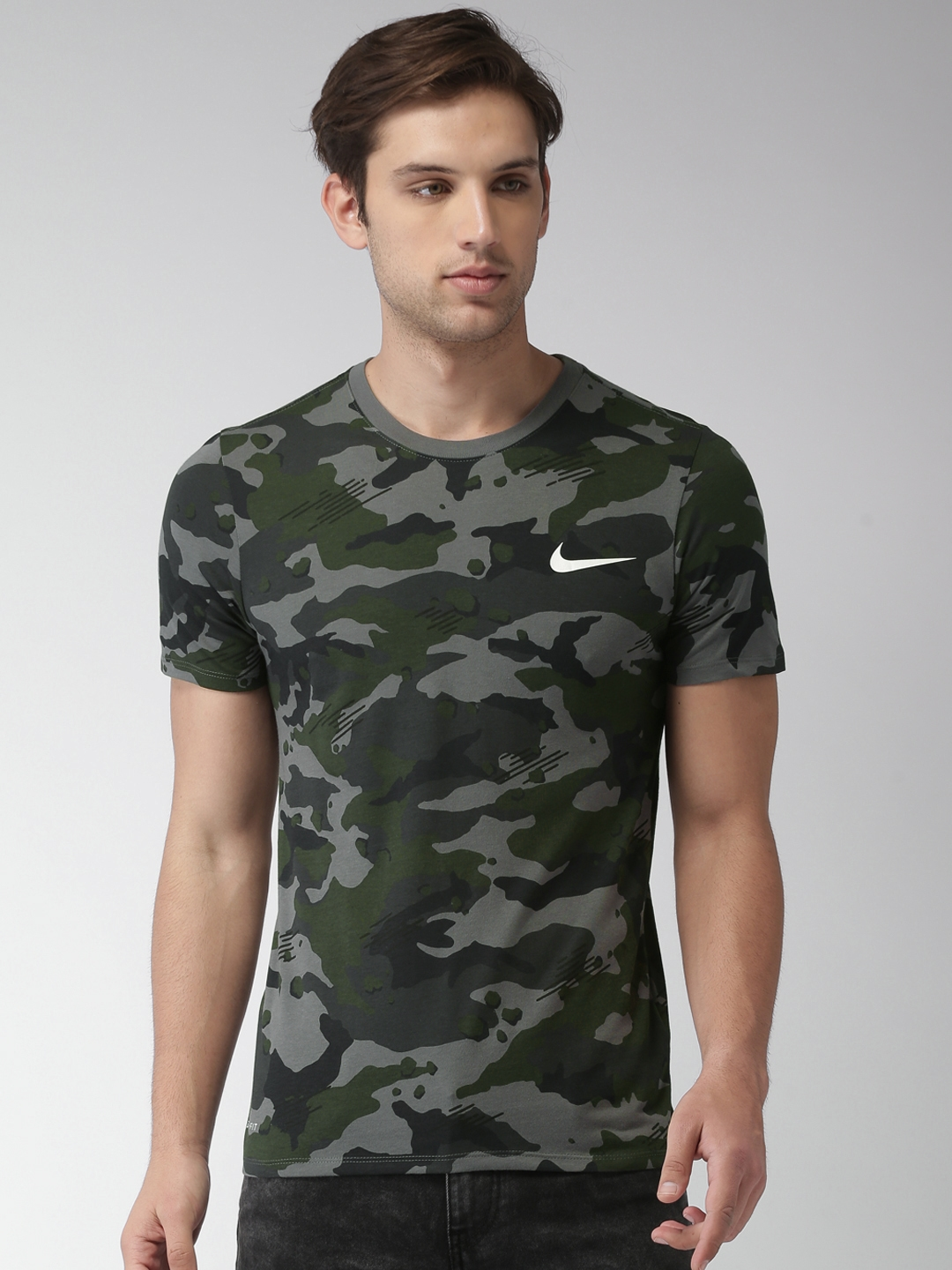 7152babff Nike Men Grey & Green AS M NK DRY DFC CAMO AOP Camouflage Print T-shirt