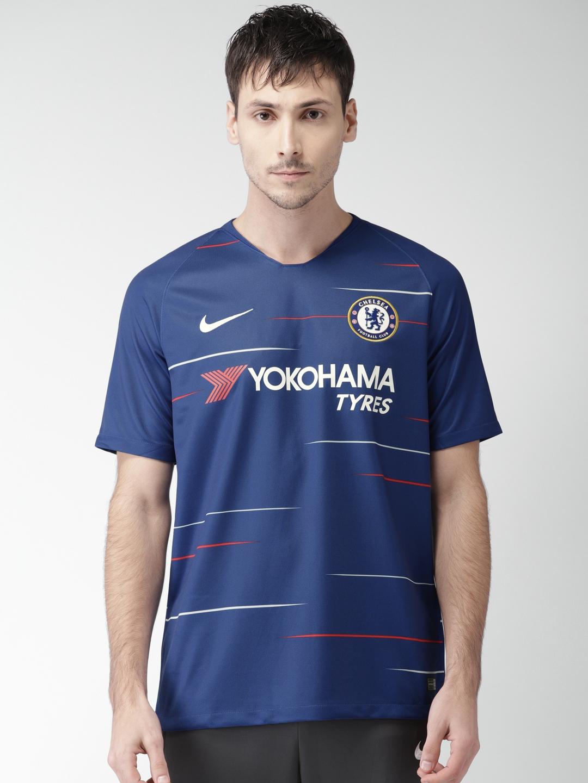 size 40 08c35 6ae5e Nike Men Blue Breathe Chelsea FC Home Stadium Sports Tshirt