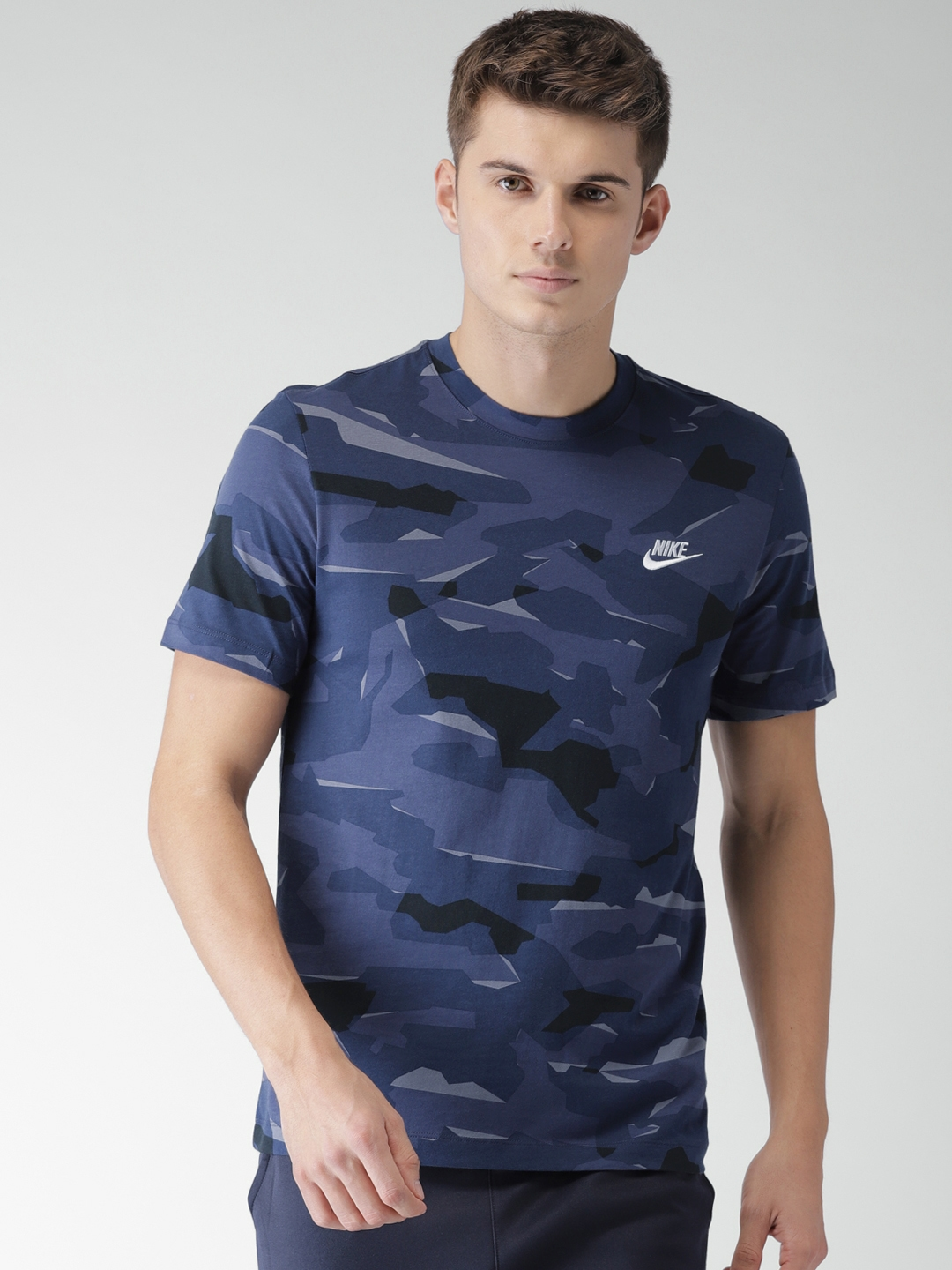 1ddd0cb54 Buy Nike Men Blue & Black Camouflage Printed NSW DRI FIT T Shirt ...