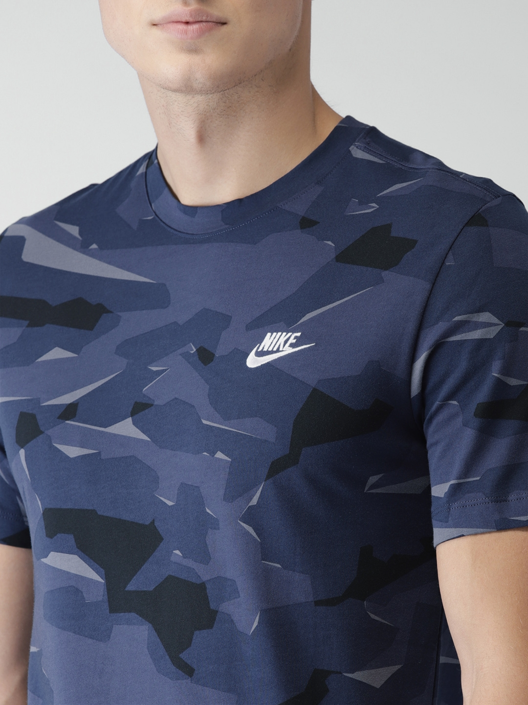 a06f3d05 Buy Nike Men Blue & Black Camouflage Printed NSW DRI FIT T Shirt ...