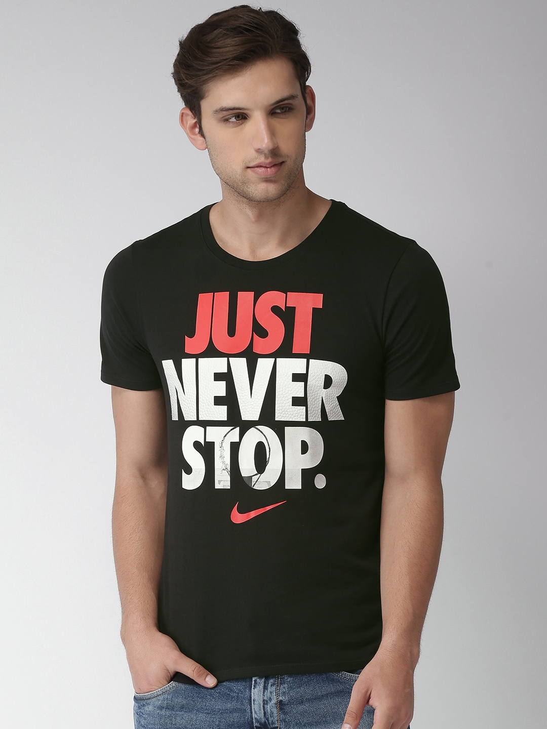 2eac07bc Nike Men Black DRY TEE JUST NVR STOP DRI-FIT Printed Round Neck T-shirt