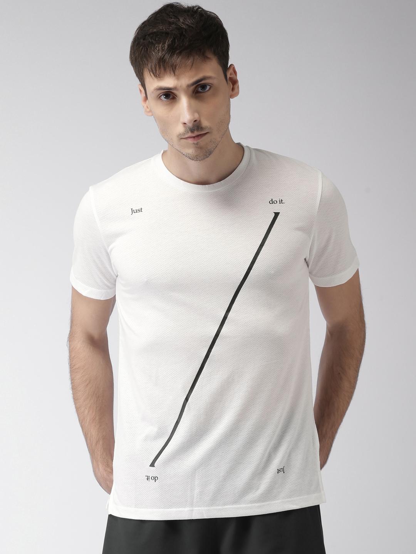 db3e30f49 Buy Nike Men White Printed BRTHE RISE 365 DRI FIT Running Tshirt ...