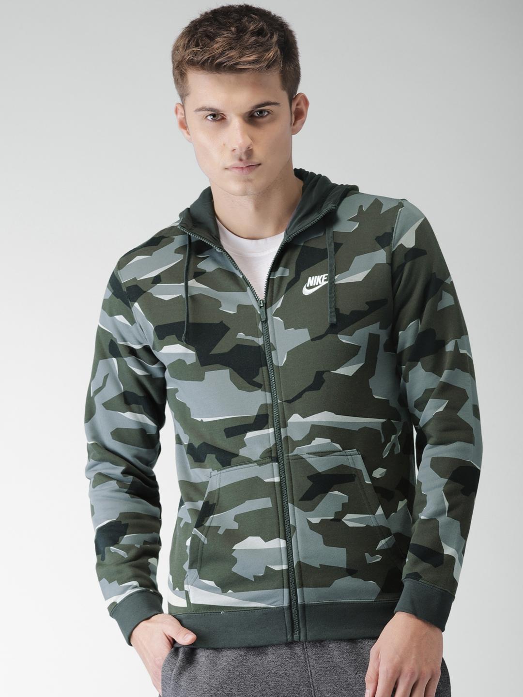 542612991700 Nike Men Grey   Olive Green Printed Standard Fit CLUB CAMO HOODIE FZFT  Sweatshirt