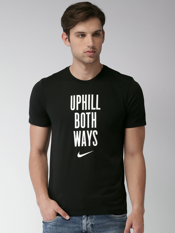 3a6b525c Buy Nike Men Black DRY DFC UPHILL DRI FIT Printed Round Neck T Shirt ...