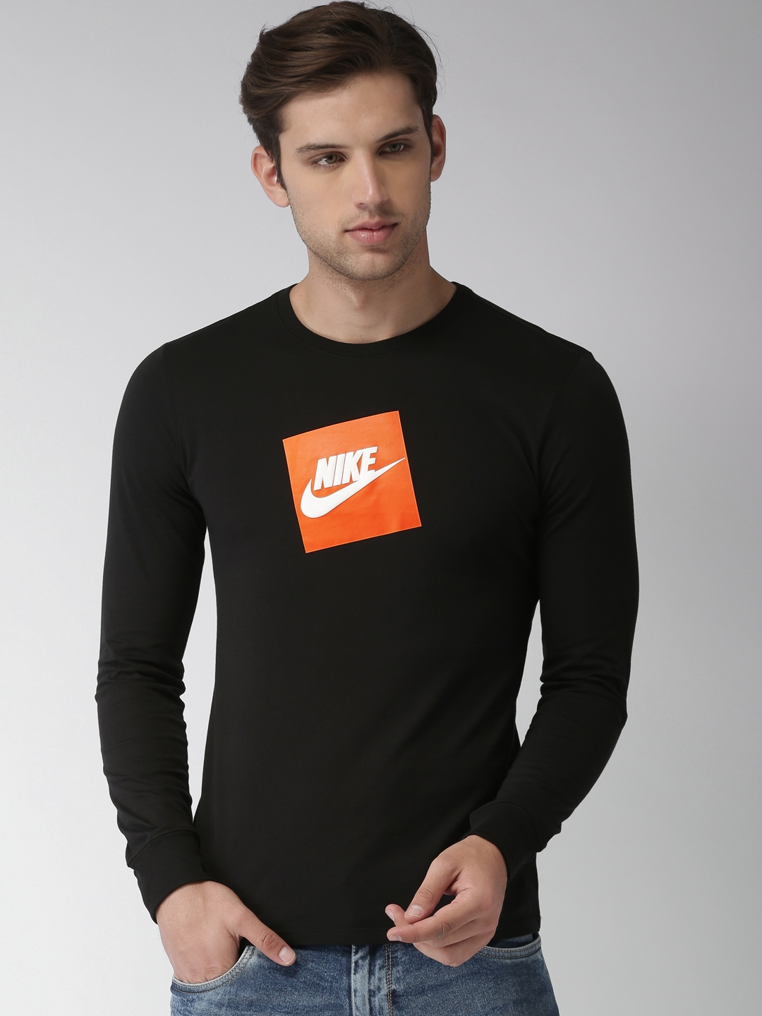 e33a8bcd9 Buy Nike Men Black Printed Round Neck FUTURA BOX HBR T Shirt ...