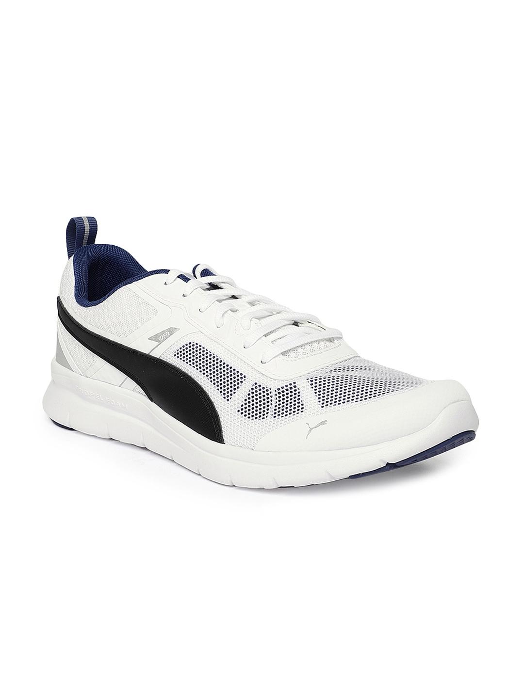 Buy PUMA Men White   Black Flex Essential Tech Running Shoes ... 8ac389e16