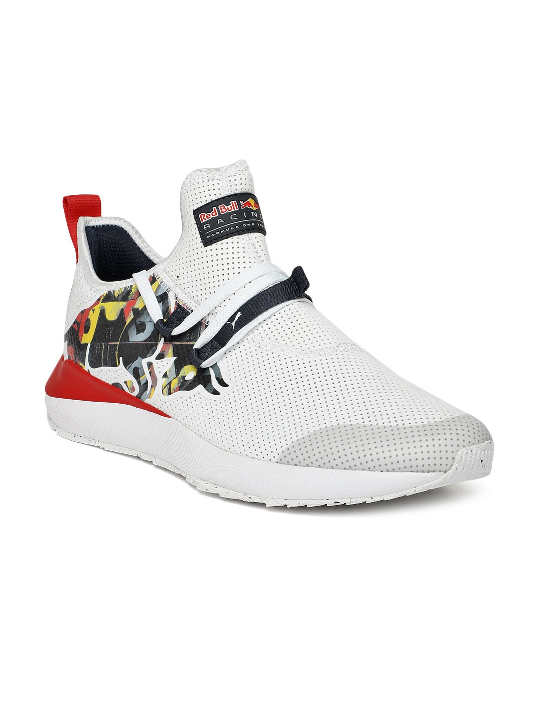 Puma Men White & Red Printed RBR Evo Cat II Bulls Sneakers