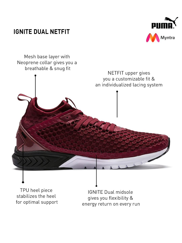 ef39f3ba950 Buy Puma Men Maroon IGNITE Dual NETFIT Running Shoes - Sports Shoes ...