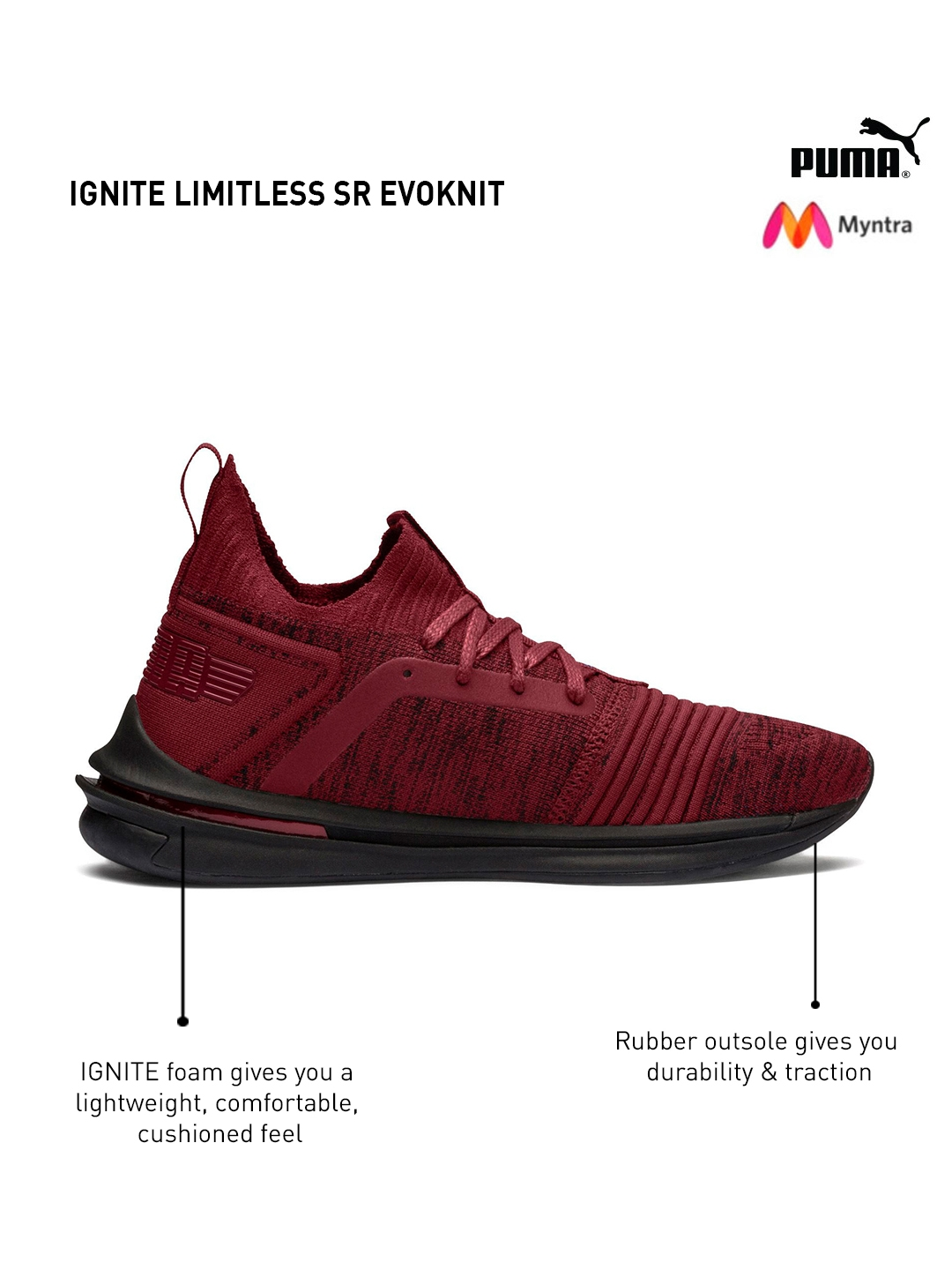 1bd71e83033a1b Buy Puma Men Maroon   Black IGNITE Limitless SR EvoKNIT Running ...