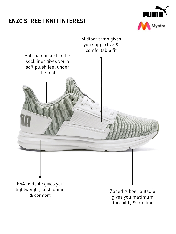 fa41cdea284348 Buy Puma Men White   Grey Enzo Street Knit Interest Training Shoe ...