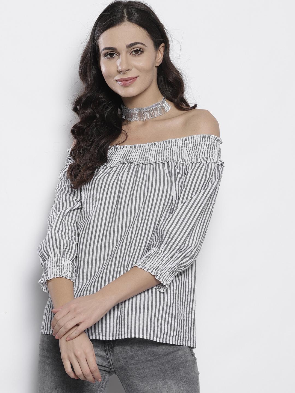 1edc33fa903 DOROTHY PERKINS Women White & Black Striped Bardot Top