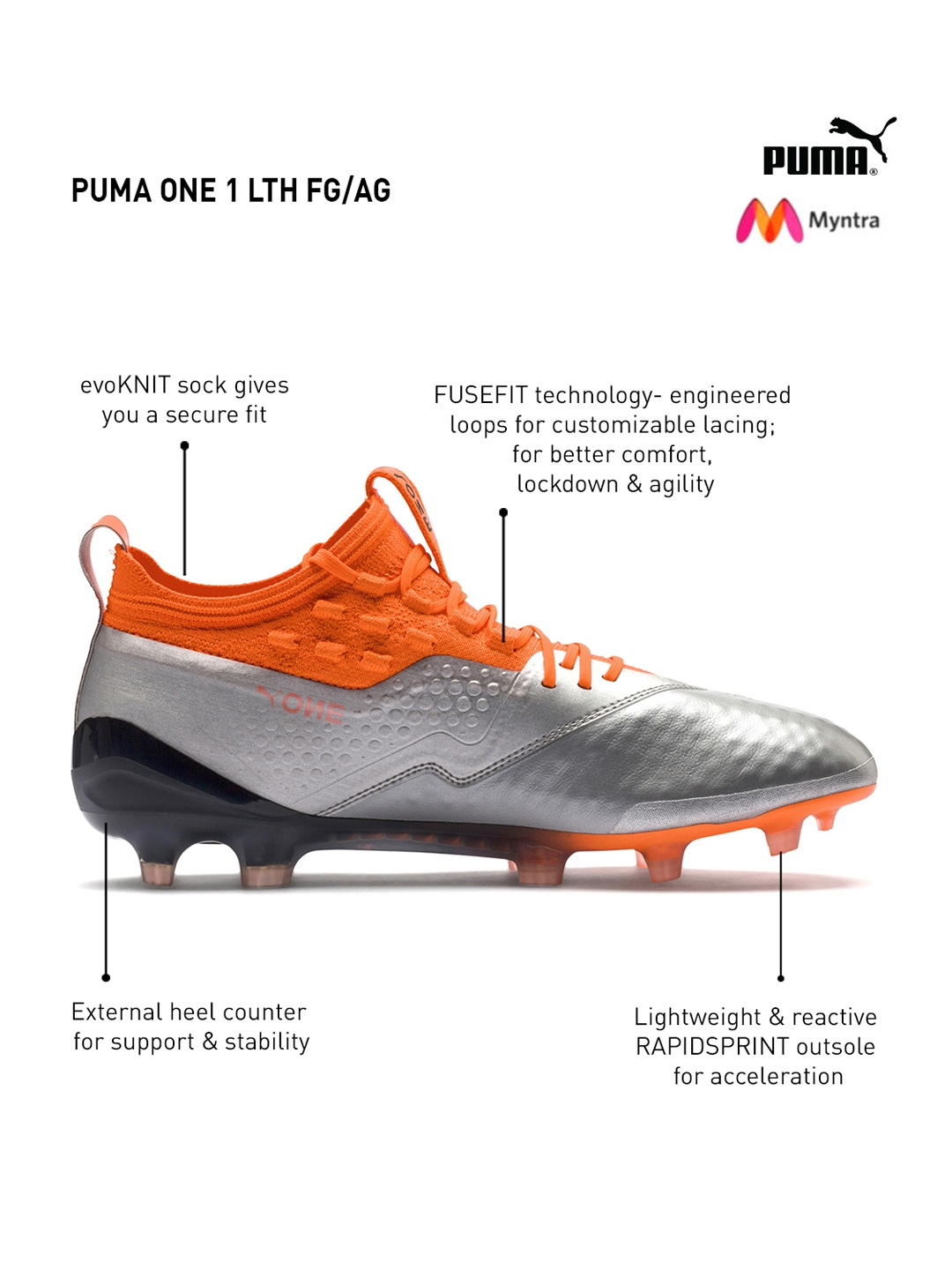 bc12d83d2fb2 Buy PUMA Men Silver   Orange ONE 1 Lth FG AG Leather Football Shoes ...