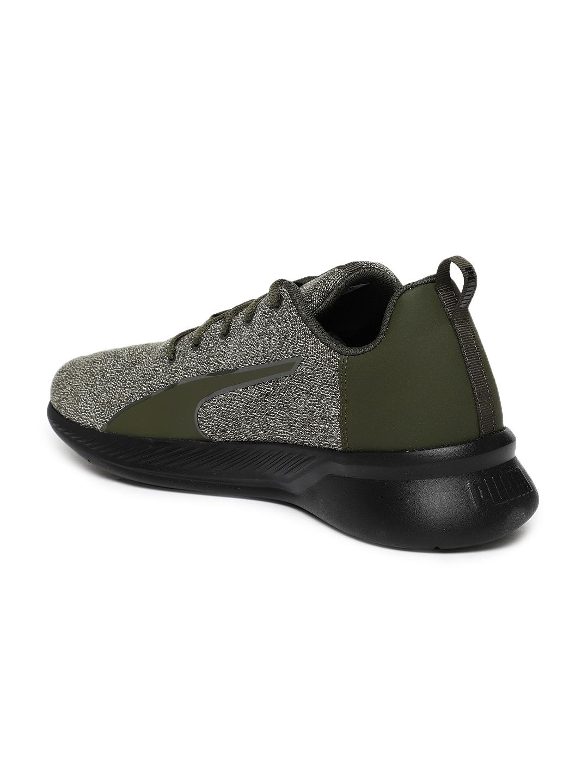 dcbf2f5bd55c Buy Puma Men Olive Green   Black Tishatsu Runner Knit Running Shoes ...