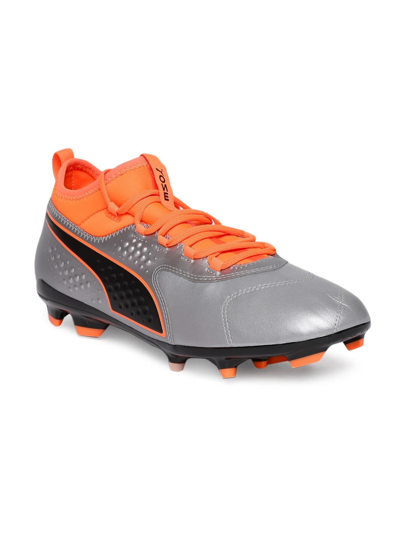 b6ec0fa24346 Buy Puma Men Silver Toned & Fluorescent Orange ONE 3 Lth FG Football ...