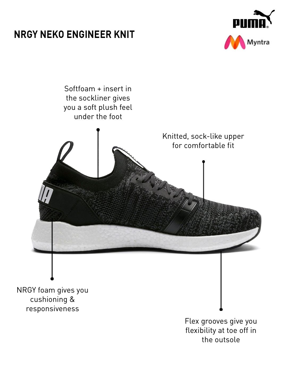6f92acb0b0fb Buy Puma Men Black NRGY Neko Engineer Knitted Running Shoes - Sports ...