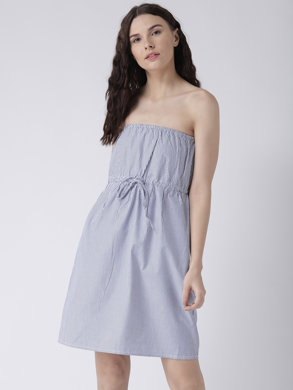 552d00ebd74 Buy Pinwheel Women Navy Blue Striped Fit And Flare Dress - Dresses ...