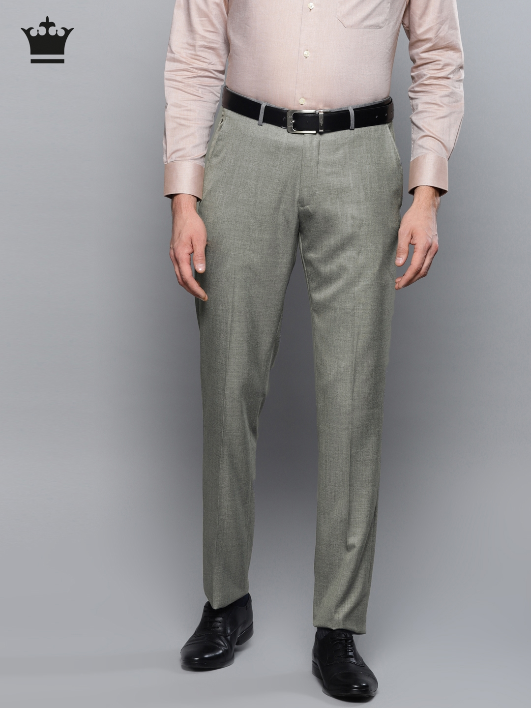 fa3250dfe34 Buy Louis Philippe Men Grey Regular Fit Self Design Formal Trousers ...