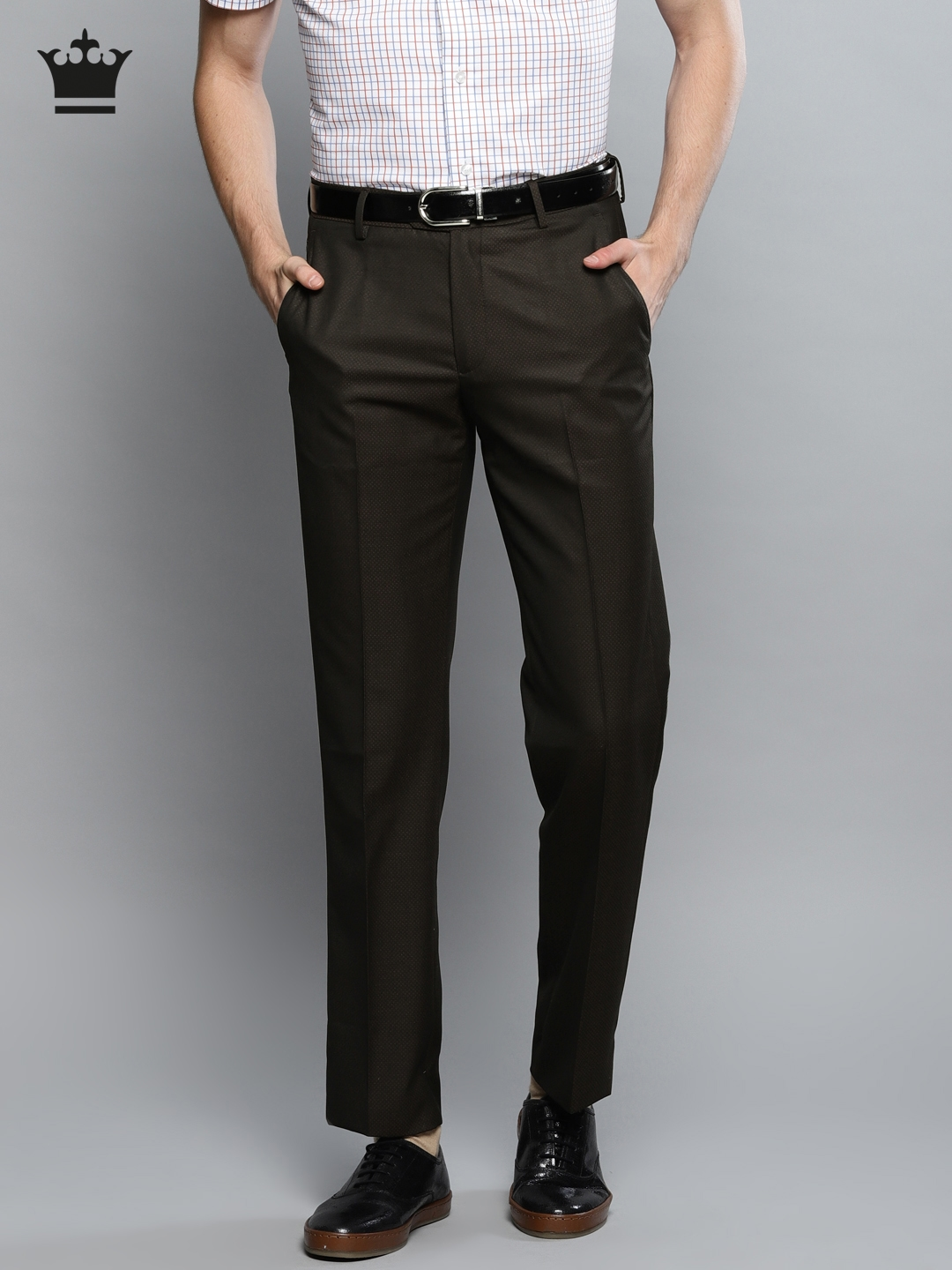 38979bd589d Buy Louis Philippe Men Brown Regular Fit Self Design Formal Trousers ...
