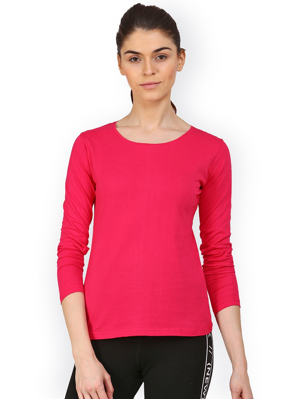3dc8f37f02da63 Buy Appulse Women Pink Solid Round Neck T Shirt - Tshirts for Women ...