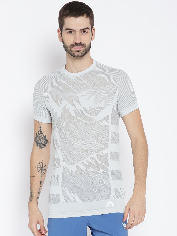 34c735b72a ADIDAS Men Grey Self Design Ultra Parley Running T-shirt