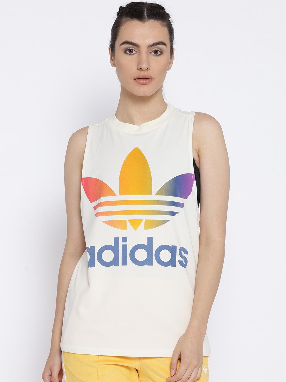4c415071b61c Buy ADIDAS Originals Women Off White TREFOIL Print Tank Top - Tops ...