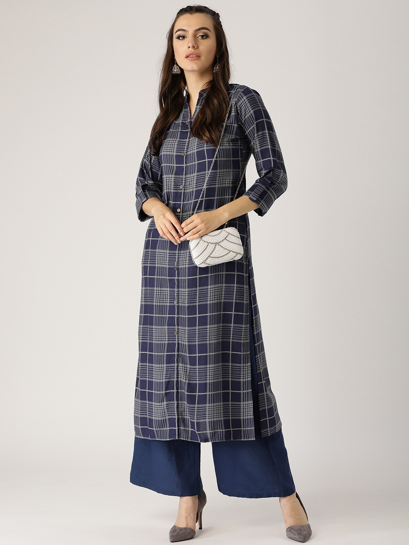 5382b445b Buy Libas Women Purple   Grey Checked Straight Kurta - Kurtas for ...