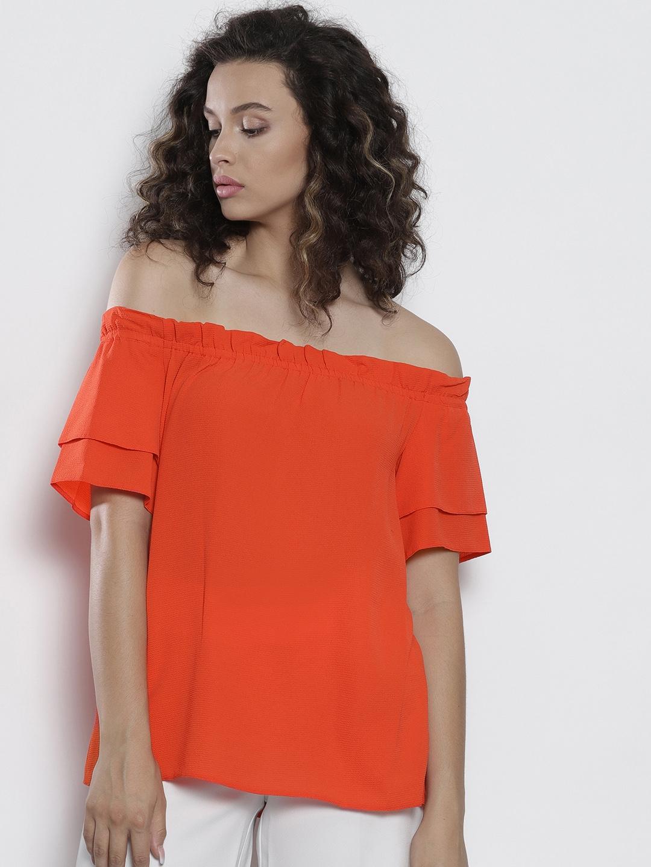 fbe4c73a6e205 Buy DOROTHY PERKINS Women Orange Solid Bardot Top - Tops for Women ...