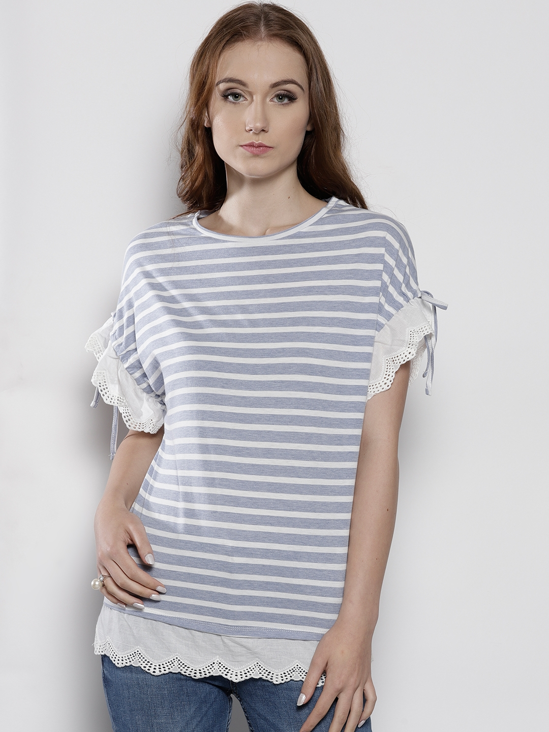 8635d63863c3a3 Buy DOROTHY PERKINS Women Blue & White Striped Top - Tops for Women ...