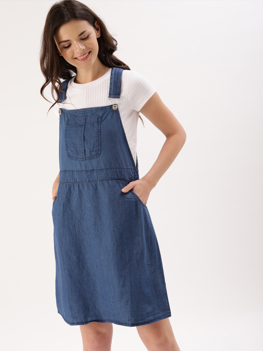 9936eaebe9be Buy DressBerry Women Blue Solid Chambray Pinafore Dress - Dresses ...