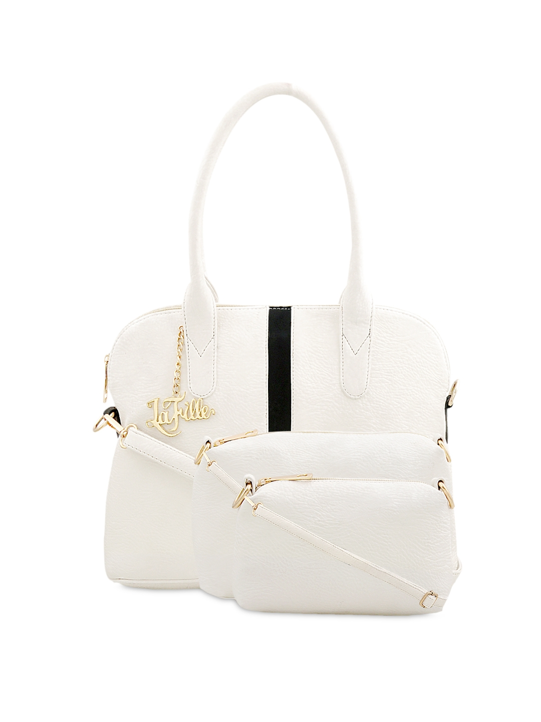 LaFille White Solid Handheld Bag with 2 Sling Bags
