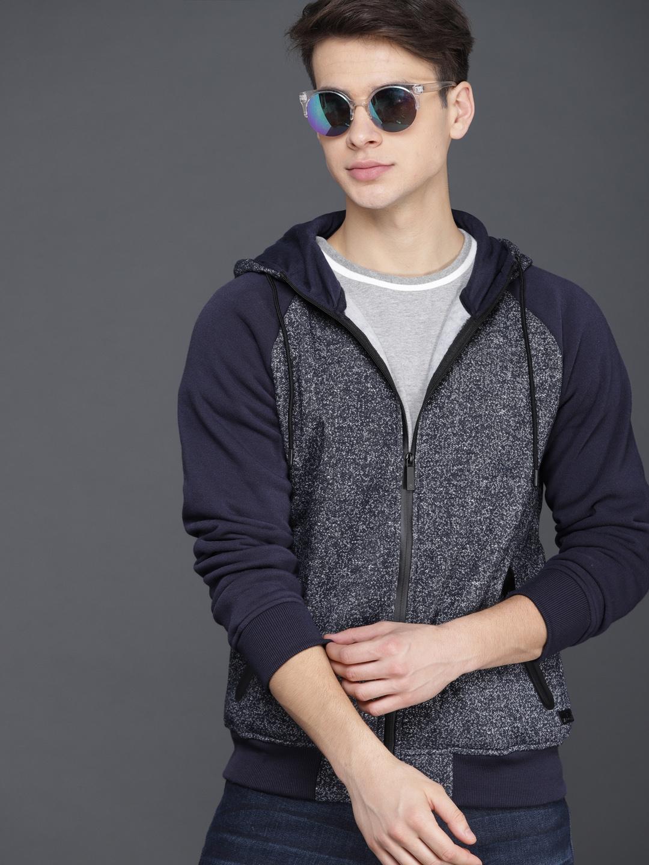 WROGN Men Navy Blue Self Design Hooded Sweatshirt