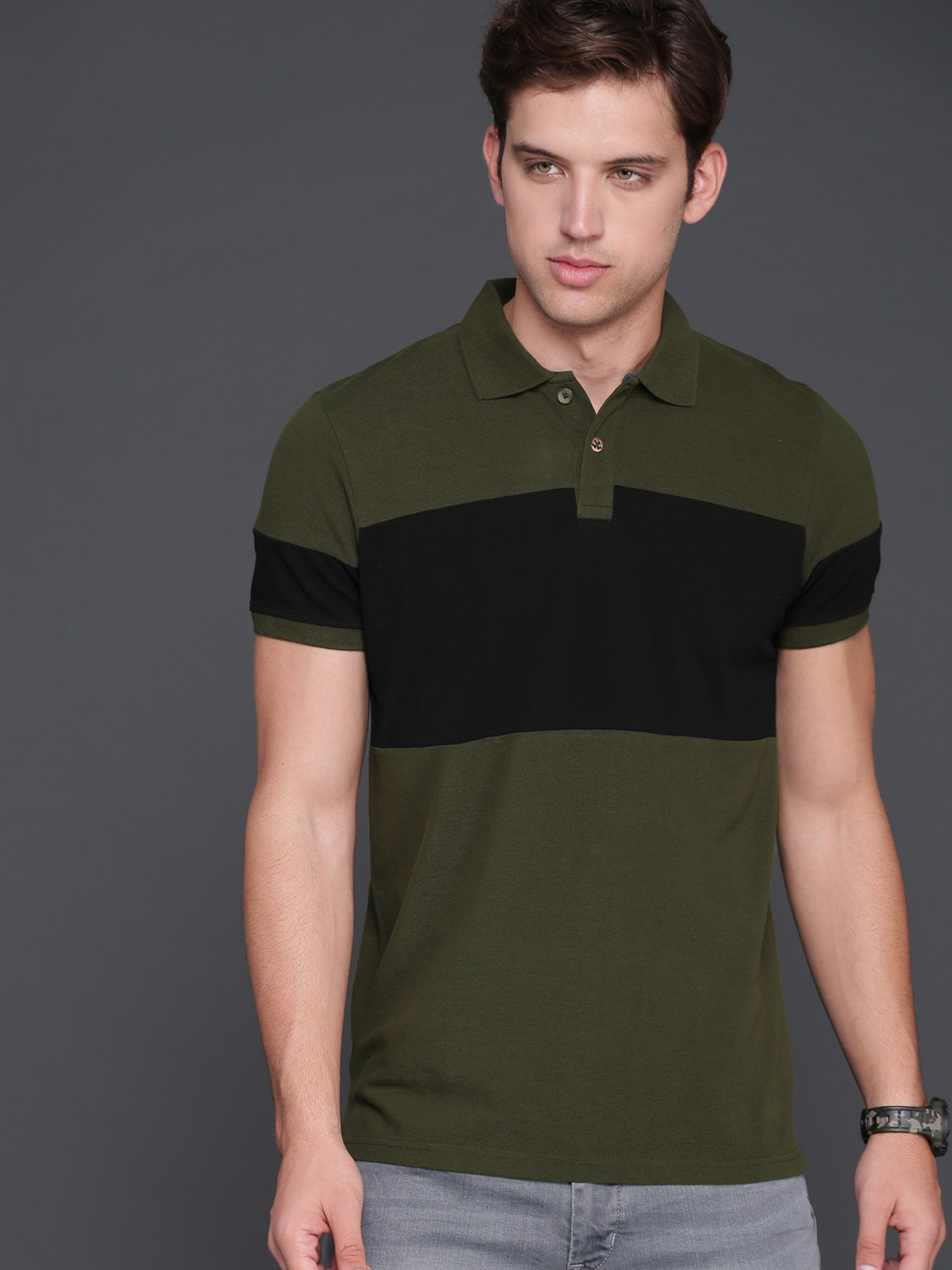 ad2344308ee3 WROGN Men Olive Green & Black Colourblocked Polo Collar Slim Fit T-shirt