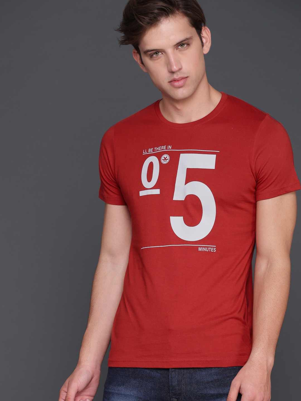 e397642d44dd Buy WROGN Men Rust Orange Printed Slim Fit Round Neck T Shirt ...