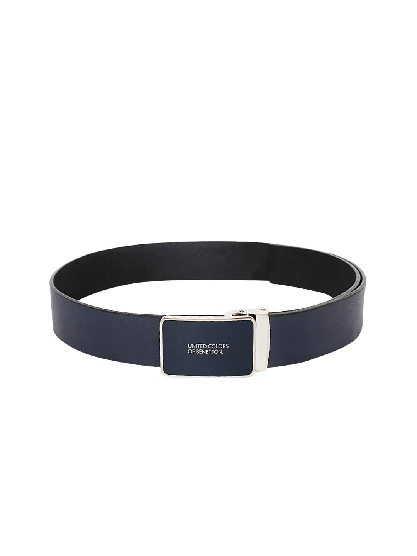 United Colors of Benetton Men Navy Blue Solid Leather Belt