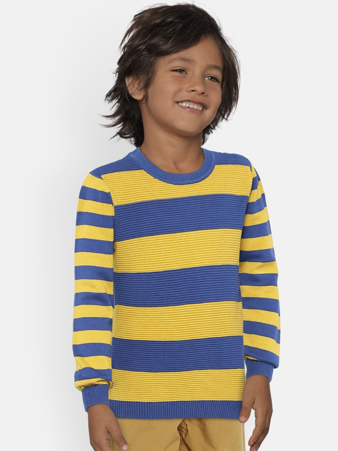 Buy United Colors Of Benetton Boys Blue Yellow Striped Pullover