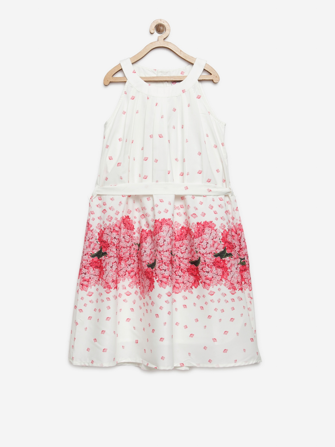 ea0f56be5 Buy Peppermint Girls White   Pink Floral Print A Line Dress ...