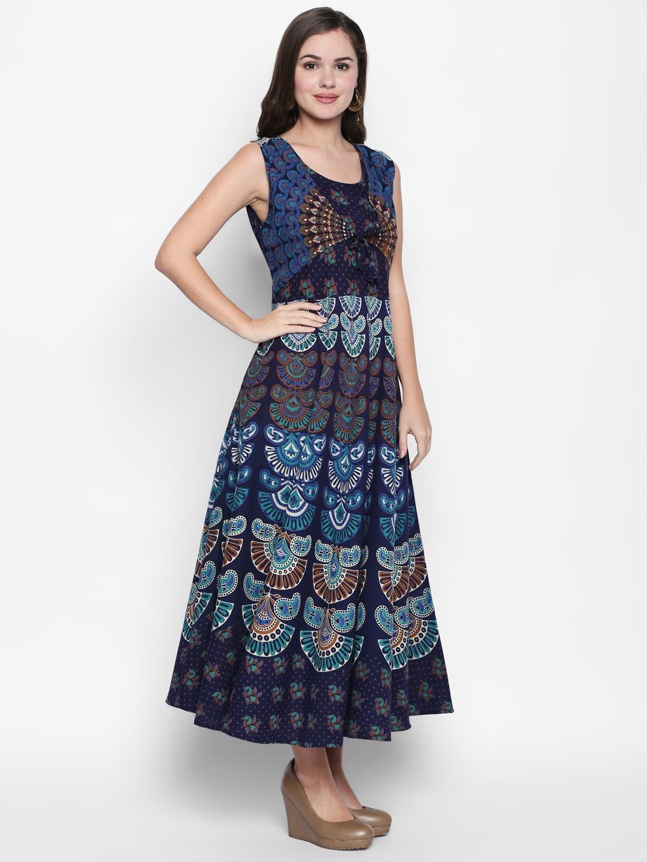 f61d0eb1933431 Image Source: https://www.myntra.com/dresses/ishin/ishin-women-navy-blue -printed-fit-and-flare-dress/6838064/buy