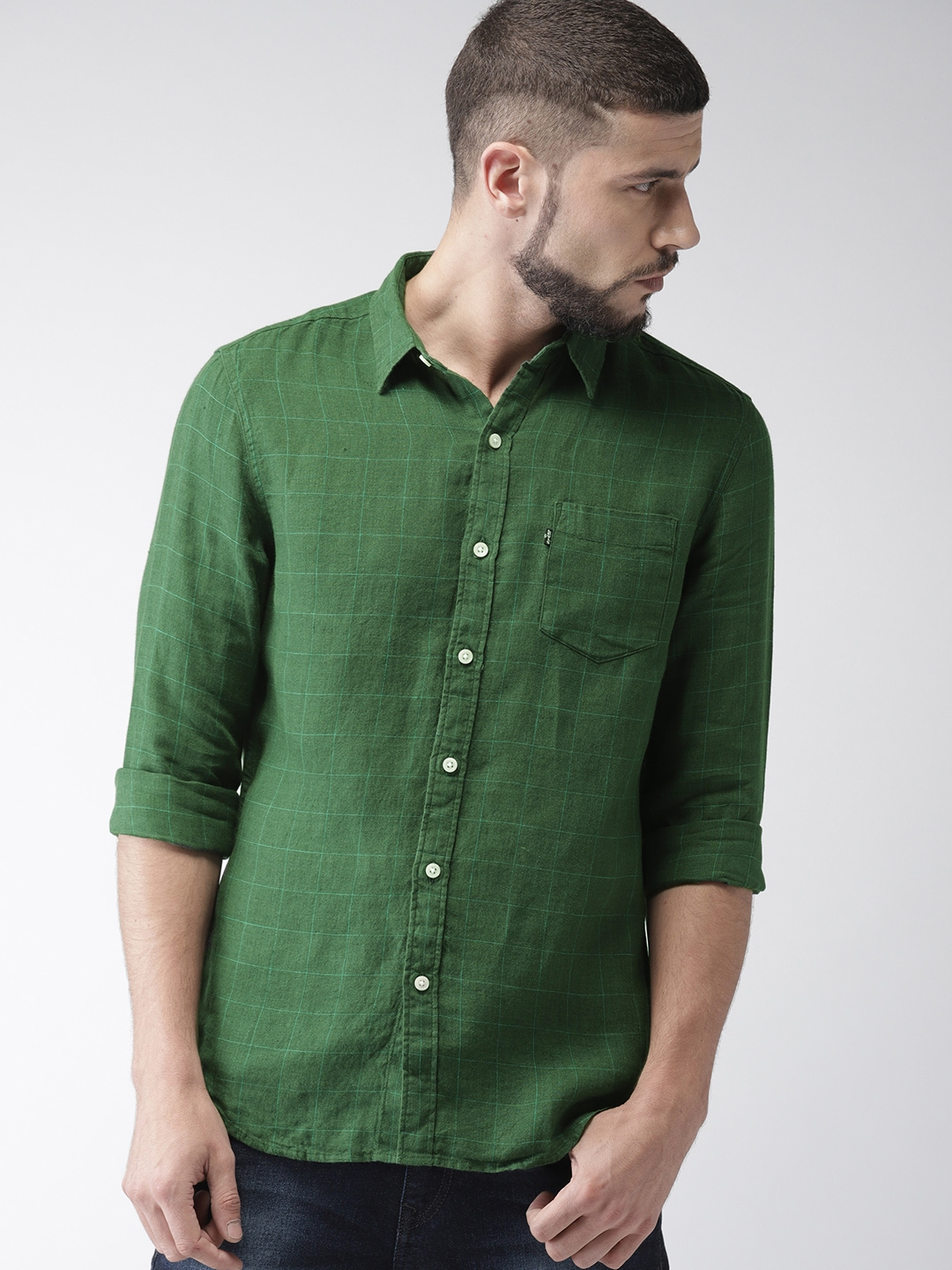 b0f65f1dca Buy Levis Men Green Trim Slim Fit Checked Casual Linen Shirt ...